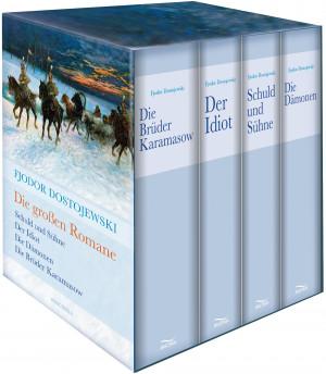 Fjodor Dostojewski - Die großen Romane - Vier Bände im Schuber - Schuld und Sühne, Der Idiot, Die Dämonen, Brüder Karamasow