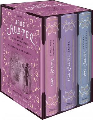 Jane Austen - Drei Romane im Schuber (illustriert) - Stolz und Vorurteil, Emma, Verstand und Gefühl